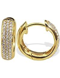 Goldmaid Damen-Creolen Gelb Gold 585 86 Diamanten 0,34 Karat Pavee Ohrringe Brillianten Schmuck