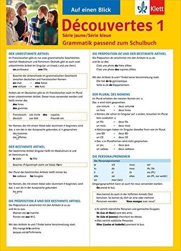 Découvertes Série jaune / Série bleue 1 - Auf einen Blick: Grammatik passend zum Schulbuch - Klappkarte (6 Seiten)