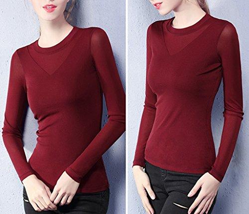 Smile YKK Chemise Col Rond Femme Tulle T-shirt Haut Top Manches Longues Blouse Grande Taille Bordeaux