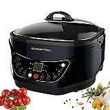 gourmetmaxx 09875 Multikocher Küchenmaschine Infrarot mit Grillrost/Frittierkorb 8-in-1 | 1500 W | Universalkocher| Antihaftbeschichtung, schwarz