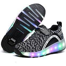 Zapatillas con ruedas, Niños Niñas Led Luz Parpadea Zapatos (EU 30, Negro)