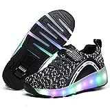 Zapatillas con ruedas, Niños Niñas Led Luz Parpadea Zapatos (EU 33, Negro)