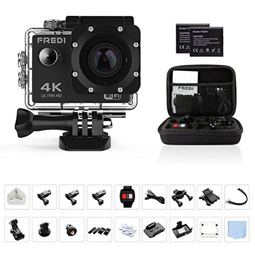 Action Cam Sports Kamera Camera 4K Helmkamera FREDI Wasserdichte HD 16MP 170 ° Weitwinkel mit Zubehör Kits für Tauchen Motorrad Schwimmen Mit 2 verbesserten Batterien. (Kit Kopfband)