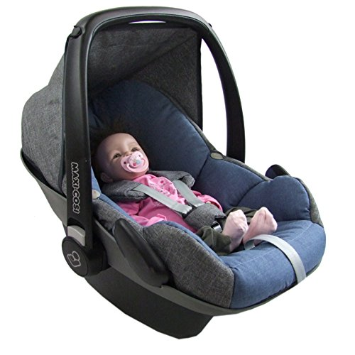 BambiniWelt Ersatzbezug für Maxi-Cosi PEBBLE 5 tlg. GRAU / BLAU *NEU* Bezug für Babyschale Sommerbezug Winterbezug
