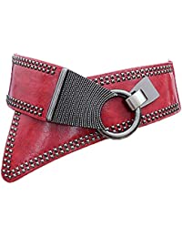LUOSFUH Cinturón ancho de cuero de PU de la mujer Elástico Punk Rock Cintura  sólida con 0ad8596a86d3