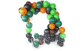 PuTwo Orange Vert Brun Noir Ballon, 60pcs 12 Pouces Noir Ballon Baudruche Vert Marron Ballons Latex pour Deco Jungle, Fete Safari, Fete Minecraft, Decoration Anniversaire Vert, Deco Bapteme Fille