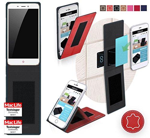 reboon Hülle für ZTE Nubia N1 Tasche Cover Case Bumper | Rot Leder | Testsieger