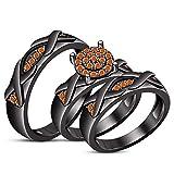 Lilu Jewels Alliance pour Homme et Femme en Or Noir 14 carats avec Saphir Orange