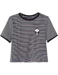 Xiangze Chica Casual Tops camisetas Alien impresión blusa de camiseta de manga