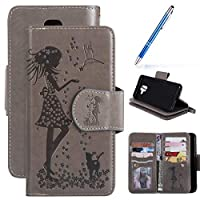 Robinsoni Case Compatible with Samsung Galaxy A6 2018 Case PU Leather Wallet Case Book Style Case Gel Bumper Protective Cover Phone Case Folio Flip Kickstand Notebook Cover Case,Grey