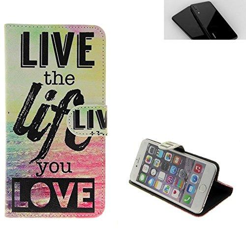 K-S-Trade Für Huawei P20 360° Wallet Case Schutz Hülle ''live The Life You Love'' Schutzhülle Handy Hülle Handyhülle Handy Tasche Etui Smartphone Flip Cover Flipstyle für Huawei P20