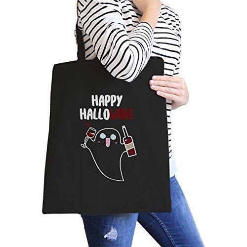 365 Printing inc, Borsa tote donna Happy Hallowine Ghost Wine - Black Misura unica Happy Hallowine Ghost Wine - Black
