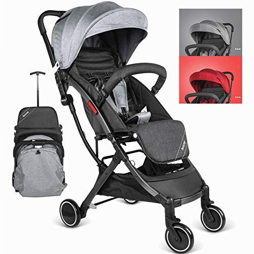 Besrey passeggino da aereo passeggino pieghevole e reclinabile passeggino compatto e leggero, per bambini da 6-36 mesi-grigio ...