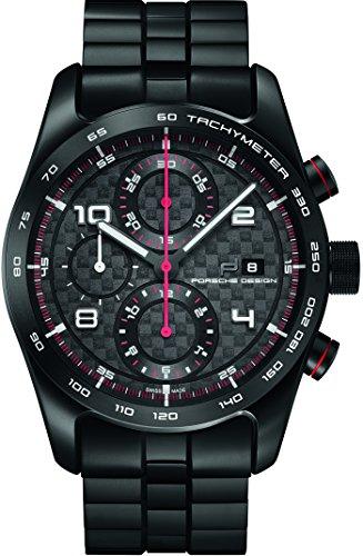 Porsche Design Chronotimer Series 1 Automatik Uhr, Titan, Schwarz-rot