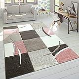 Paco Home Designer Teppich Modern Konturenschnitt Pastellfarben Mit Karo Muster Beige Rosa, Grösse:80x150 cm