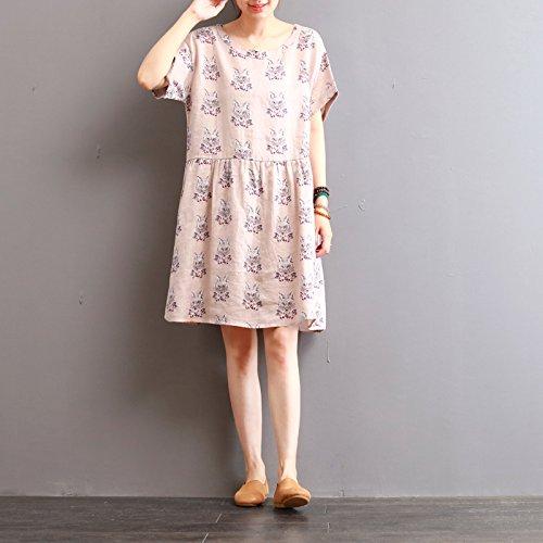 print - medium lange kurze ärmel kleid, um den hals lose kleid Pink