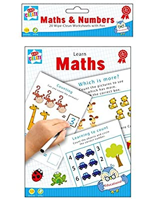 Maths & Numbers Learn Mathematics 20 Wipe-Clean Worksheets with Pen by Kids Create