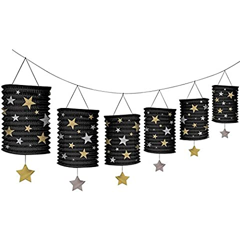 Amscan Hollywood Stars Lanterns Garlands, Gold/ Silver and Black