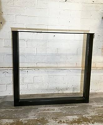 Pair Handmade Raw Steel Large Dining Table Pedestal Legs Industrial Style 71cm x 75cm