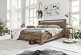 Woodkings Bett 180x200 Havelock Doppelbett Akazie Rustic Schlafzimmer Massivholz Design Ehebett Balkenbett Massive Naturmöbel Echtholzmöbel günstig