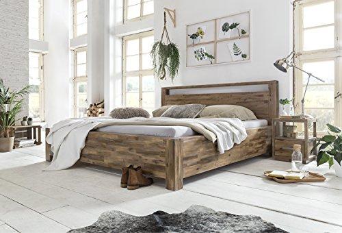 Woodkings Bett 180×200 Havelock Doppelbett Akazie Rustic Schlafzimmer Massivholz Design Ehebett Balkenbett Massive Naturmöbel Echtholzmöbel günstig