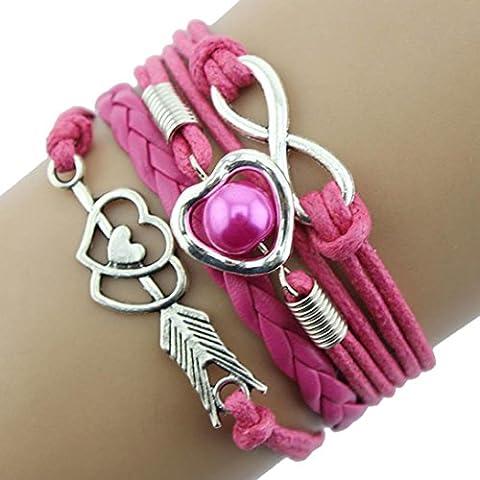 Toraway El infinito amor del corazón de la perla de la amistad piedra retro cuero mandril perla pulsera de múltiples capas del encanto (Rosa caliente)