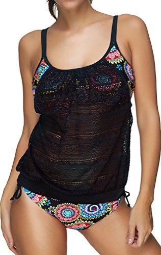 Bettydom Frauen schoene Tankini Zweiteilig Schwimmanzug Streifen Bademode Damen Strandmode Bikini Set (XL,3 Colorful)