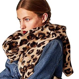 UJUNAOR Unisex Halstücher Herbst Winter Leopard Nachahmung Kaschmir Wärme Verdickung Damen Schal(Braun,One size)