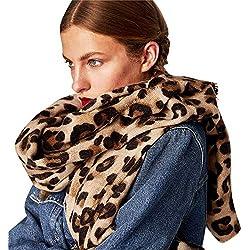 ❤️ Bufanda Leopardo invierno mujer, invierno cálido leopardo estampado largo lana chal suave cuello largo bufanda ABsolute (A)