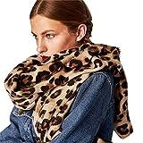 STRIR Bufanda Leopardo Invierno Mujer, Invierno cálido Leopardo Estampado Largo Lana Chal Suave Cuello Largo Bufanda