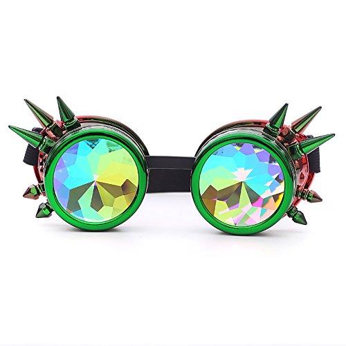 TW-Gläser TWISFER Steampunk Brille Cyber Brille Viktorianischen Punk Stil Schweißen Cosplay Gothic Goth Rustikale Rivet Vintage Runde Rave Neuheit(Grün,One Size)