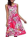 Fortuning's JDS Frauen-Blumen-Rundhalsausschnitt mit hohen Taille Ärmel gekräuseltes Kleid
