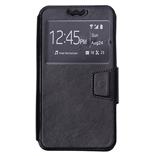 Shopme Premium PU Leather Flip cover for Panasonic P81 (BLACK COLOR ) (Slider for Taking Snaps, Caller ID Window,100% Camera Protection)  available at amazon for Rs.299