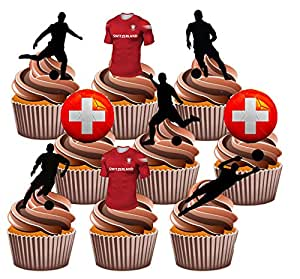 Euro 2016Schweiz Fußball Party Pack–essbar Stand-up Cup Cake Topper (36Stück)