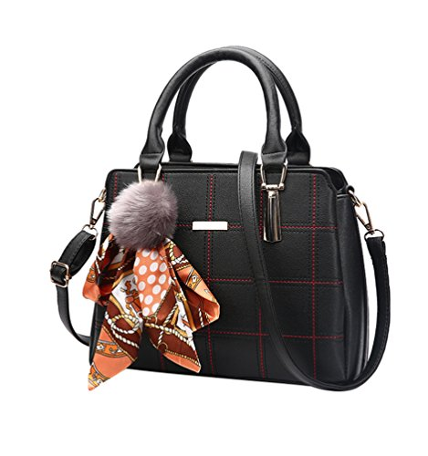 Baymate Elegant Handtaschen Mode-Strasse Damentaschen Schuletaschen Umhängetasche Schwarz