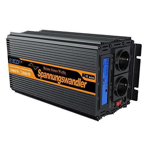 Este inversor de energia de onda sinusoidal pura convierte 12 V DC voltaje en 220V-240V AC voltaje. Por lo que puede usarse para operar hasta 1000 vatios de 230V, 220V, 240V con dispositivos convencionales (portatil, television pequeña, radio, etc...