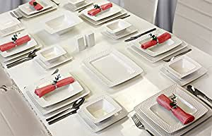 56 teilig tafelservice ess service porzellan set geschirr eckig in wei f r 12 personen milano. Black Bedroom Furniture Sets. Home Design Ideas