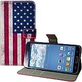 kwmobile Hülle für Samsung Galaxy S5 / S5 Neo / S5 LTE+ / S5 Duos - Wallet Case Handy Schutzhülle Kunstleder - Handycover Klapphülle mit Kartenfach und Ständer Flagge USA Design Blau Weiß Rot