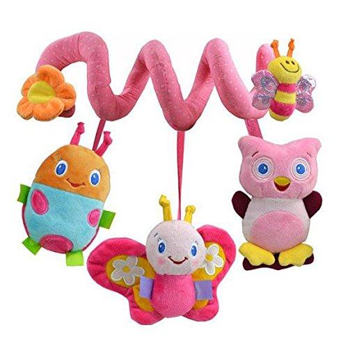 SOLEDI Spiral Stoff Spielzeug Kinderwagenkette mit Sound Plüschtiere Spielzeug Rosa