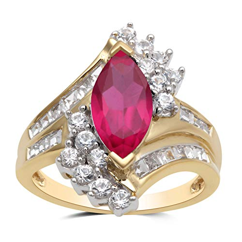Jewelili Ring 18 kt Gelbgold vergoldet 12 x 6 mm Rubin Marquiseschliff 2 mm rund weißer Saphir Größe 7 (Saphir Ring Gelbgold Plattiert)