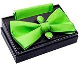 Retreez Herren Gewebte einfarbig vorgebundene Fliege 13 cm und Einstecktuch und Manschettenknöpfe im Set, Geschenkset, Weihnachtsgeschenke - grün