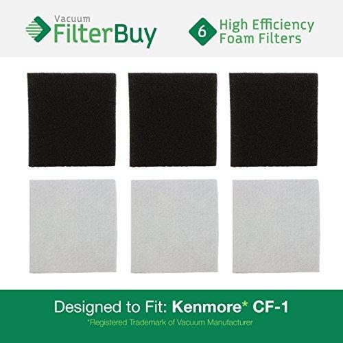 6Sears Kenmore CF1Progressive Double Layer Foam Filter. Entworfen von filterbuy zu ersetzen Kenmore Teil # CF1, cf-1, 20–86883, 86883, 2086883, 4370616, 8175084, 20–Les Toits 40321, 2040321, Les Toits 40321. (Teile Sears Kenmore)
