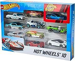 Idea Regalo - Hot Wheels Set Macchinine da 10 Veicoli in Scala 1:64, con Decorazioni Mozzafiato, da Collezionare, 54886, Modelli Assortiti