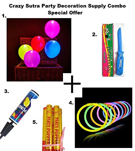 Crazy Sutra Party Decoration Supply Combo Special Offer: Pack Of 10 Premium Quality Led Balloons + Happy Birthday Musical Knife + Handy Air Balloon Pump/ Balloon Inflator + Glow Sticks Bands - Premium Lumistick Bracelets - 100 Pcs Set Assorted Colours + Golden Party Poppers Sparkle Cannon Party Fun Glitter Gun 30 cm (Pack of 3 pcs)