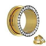 Flesh Tunnel - Gold - Kristall - Klar - Schutzschicht 4 mm