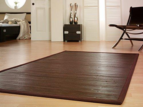 Bambusteppich WENGE 140x200cm, 17mm Stege, breite Bordüre, massives Bambus | Bordürenteppich | Teppich | Bambusmatte | Wohnzimmer | Küche | Markenprodukt von DE-COmmerce | nachhaltig und ökologisch.
