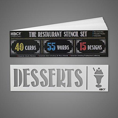 Restaurant Schablone Set-schaffen Sie atemberaubende Menu Boards und, Ihre Speisekarten Pop-Ideal für alle Tafeln, Whiteboards, Glas Fenster und zeigt. Mega Pack-40Karten, 55Worte, 15Designs -