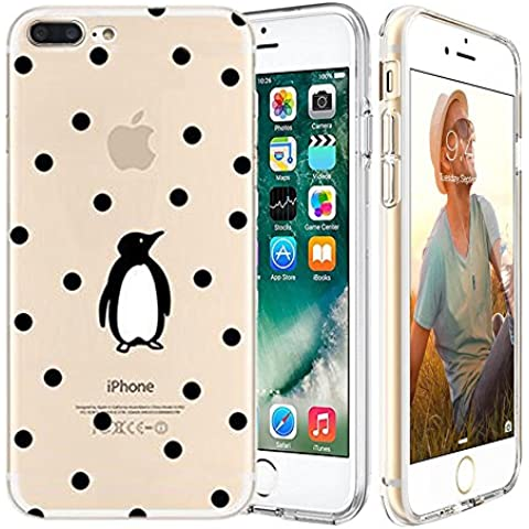 iPhone 7 plus Custodia,Apple iPhone 7 plus (5.5 inch) Custodia,Richoose iPhone 7 plus TPU [Slim Fit] Cancella TPU Gel Della Gomma Custodia Protettiva,Cassa del Respingente Crystal Clear Trasparente Custodia Protettiva per iPhone 7 plus 5.5 inch - Pinguino