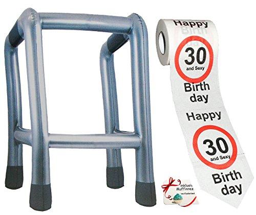 """2 tlg. Set: __ Gehhilfe - ( Aufblasbar ) + Toilettenpapier Rolle - """" 30. Geburtstag / dreißig und Sexy - Happy Birthday """" - lustiger Partyartikel - für """" alte Säcke """" - Rollator - Rentenbeginn Rente - Gehgestell - Scherz / Scherzartikel - Pfleger Pflegen - Geburtstagsparty Jahre - dreißigster"""