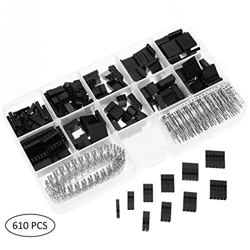 YoungRich 610 STÜCKE 2 54mm Pitch Stecker Dupont Stecker kit Männlich Weiblich Verbindungsstecker 1Pin zu 10Pin Header Gehäuse Sortiment Kit Elektronische Komponenten für Raspberry mit Kunststoffbox 2 Gauge-jumper-kabel